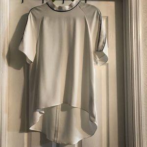 Zara cream short sleeve shirt hi/low